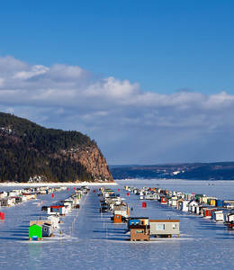 Ice Fishing Villages in La Baie - Contact Nature